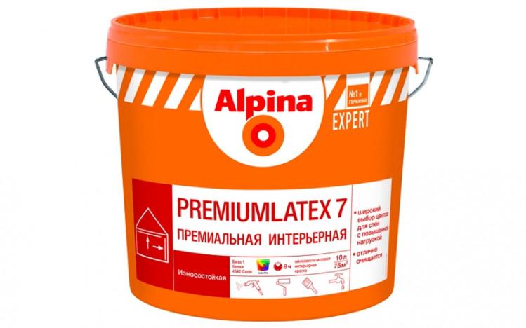 ALPINA EXPERT Premiumlatex 7 B3 шолковисто матовая стойкая латексная краска 2,5л