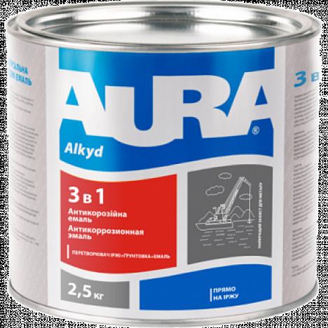 AURA Грунт-емаль 3 в 1  (чорна) 0,8кг