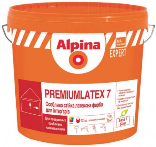 ALPINA EXPERT Premiumlatex 7 B1 шолковисто-матова стійка латексна фарба 2,5л