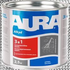 AURA Грунт-эмаль 3 в 1 (серая) 0,8кг